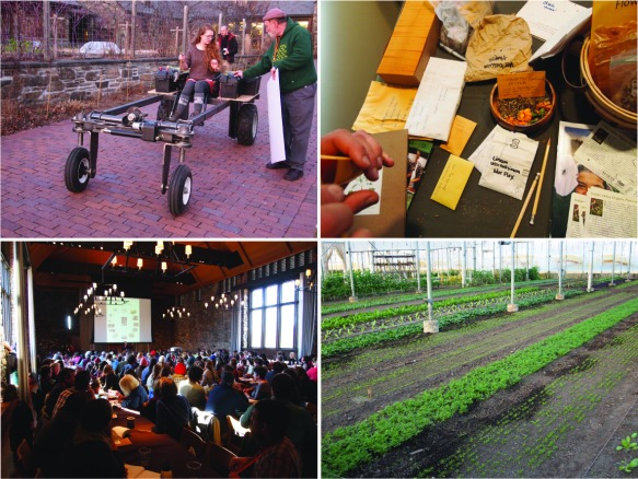 Slow tools, seed exchange, LOTS OF BEGINNING FARMERS!!, and very straight rows in the greenhouse.